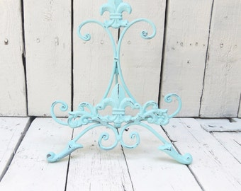 Aqua Blue Easel, Metal Easel, Book Stand, Art Prop, Shabby Cottage Chic, Fleur De Lis, Parisian Chic, French Country, Paris Apartment