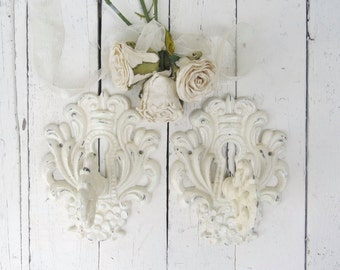 Shabby Cottage Hooks, Ornate Key Hooks, Vintage Inspired, Fancy Hooks, Towel Coat Hook, Ivory Key Hooks, French Cottage, Paris Apartment