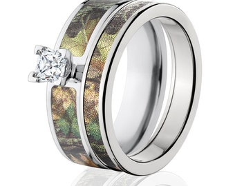 Cobalt Outdoor Camo Bridal Set with Mossy Oak New Breakup Camo Ring Cobalt Wedding Band : COB-6F14G5PCTW and 4HR_NewBreakup