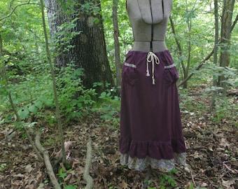 Plum Gypsy Woodland Fairy Long Skirt  Hippie Skirt Upcycled Vintage Fabrics Maxi Skirt  Double Ruffle Skirt paisley HANDMADE by KNOTTYMAMA