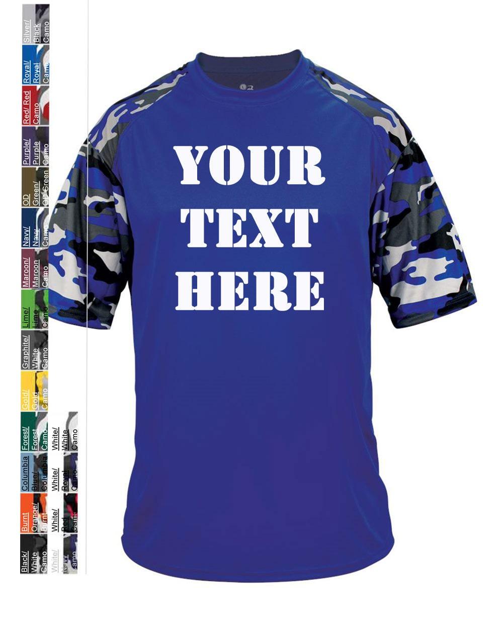 Custom made badger camo youth sport t shirt 2141 vinyl or for Custom made sport shirts
