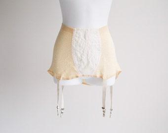 Cream Tummy Control, Knit Girdle, with Garters - Sz L
