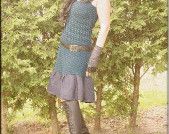 Dress - Steampunk - Bohemian Gypsy - Burning Man - Playa wear - Boho Fashion - Sexy - Short Dress - Teal and Black - Size Large