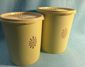 Set of 2 Harvest Gold Yellow Tupperware Canisters Containers with Servalier Lids