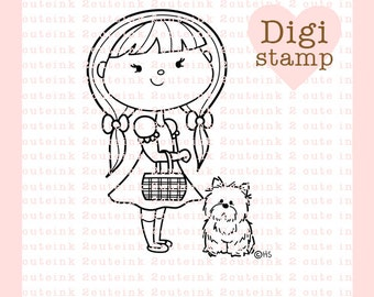 Dorothy Digital Stamp - Girl and Dog Digital Stamp - Digital Dorothy Stamp - Wizard of Oz Art - Dorothy Card Supply - Dorothy Craft Supply