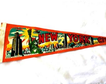 Vintage New York City Pennant. 1960s Orange Felt Pennant. NYC, Empire State Building, Statue of Liberty, RCA Building, . Travel Souvenir