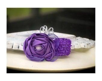 Baby Purple Rosette Headband / Hair Clip. Girly Newborn Gift. Custom Made Colors. Its a Girl Shower. Preppy Kid Child Clildren Head Band Pin