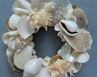 White Shell Wreath or Candle Ring-SW77