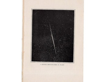 1909 ANTIQUE METEORITE LITHOGRAPH - original antique celestial astronomy print - photographed in flight