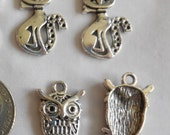 Antique Silver Cat and Owl Charms - 12 pcs