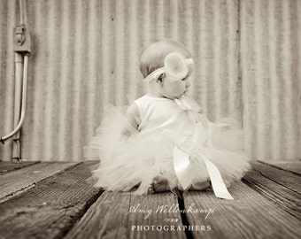 Baby Girls Tutu Dress in Ivory, Baby Girl Dresses for Pictures