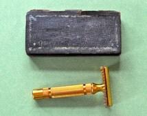 Antique Gillette Gold Razor Pat. No. 1815745, Pat No 1858316, Reissue Pat 17567 in Original Metal Box 1930s Gillette Double Edge Razor