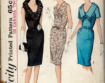 1960's Simplicity 5670 - Wiggle Dress, Low V Neckline  with Option of Collar and Bow Detail  Bust 32