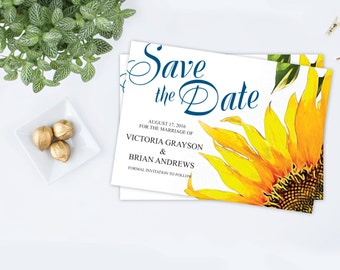 Sunflower save-the-date ~ Rustic Save The Date, Printable Save The Date, Floral Save The Date, Save Our Date, Cheap Save The Date, Summer