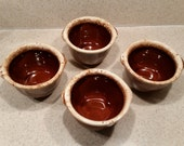 Hull Pottery Brown Drip Custard Cups, Set of 4 Brown White Glaze Pottery