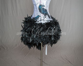 "READY TO SHIP Size Medium ""One Of A Kind"" White Hand Painted Raven and Black Feather burlesque prom dress"