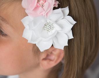 light pink elastic headband, white flower headband, cake smash outfit, girl birthday gift, flower girl headband, baby shower gift,