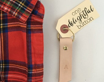 Hand-stamped Leather Keychain. Gold keychain. Personalized Keychain. Gifts under 25. Leather Keyring.