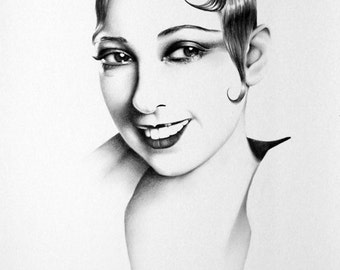Josephine Baker Original Pencil Drawing Minimalism Fine Art Portrait