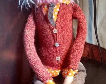 Pink Bearded Fabric Hipster Man Doll in Pink Cardigan and Orange Polka Dot Shirt