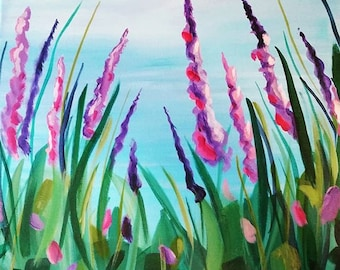 Wild Lupines in the Fresh Mountain Air 12x12 original acrylic painting