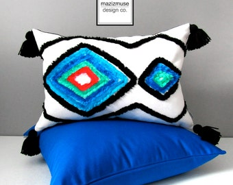 Moroccan Blue Outdoor Pillow Cover, Decorative Black White Boho Chic, Modern Tribal Throw Pillow Cover, Sunbrella Pillow Cushion Cover