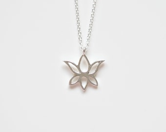 Lotus necklace, sterling silver lotus flower charm, zen, yoga pendant, namaste, gift for her, simple jewelry, littleglamour - Darlene