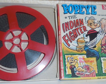 Vintage POPEYE Indian Fighter SUPER 8mm B&W FILM Triple Feature Cartoons w/ box