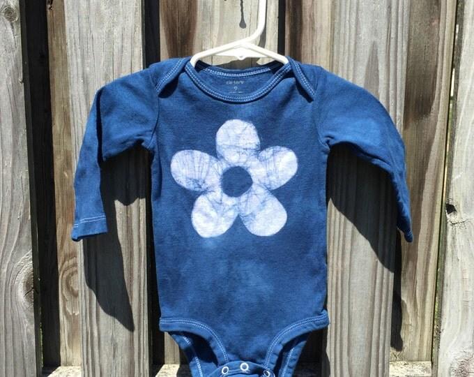 Flower Baby Bodysuit, Blue Baby Bodysuit, Blue Flower Bodysuit, Baby Girl Gift, Baby Shower Gift, Batik Baby Gift (9 months)