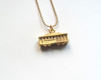 Gold cable car charm necklace, San Francisco charm on 14k gold plate chain