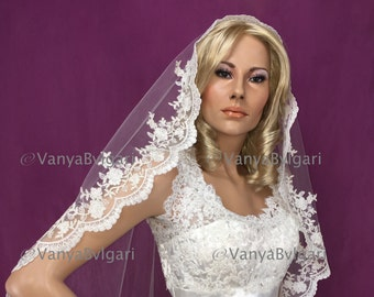 "Chapel Mantilla veil 79"" long with scalloped lace edge design with beads and sequences for Catholic wedding  in Diamond white color"
