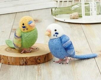 Japanese Needle Wool Felt Mascot DIY Kit - Kawaii  Budgerigar Birds, Green & Blue, Hamanaka Wool Felt Kit, Japanese Felting Supply,  F168