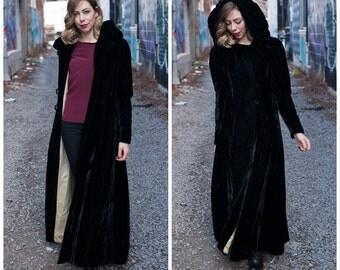 Vintage 1930s/1940s Black Velvet Coat/ Black Velvet Coat With Hood/ Long Duster Opera Coat