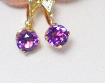 14k gold leverback purple amethyst gemstone dangle drop chandelier earrings chevron accent solitaire stud post hd quality gem