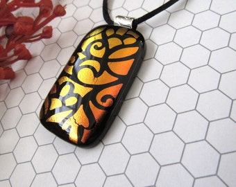 Copper Swirls Fused Dichroic Glass Pendant - Necklace - Dichroic Glass Jewelry - Dichroic Jewelry - Fused Glass Jewelry, 14-14