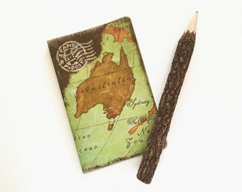 Pocket travel journal with decoupage of Australia's map