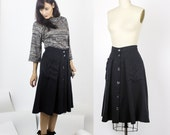 Black tencel linen skirt / Volution - Button down pleated & gathered skirt with pockets