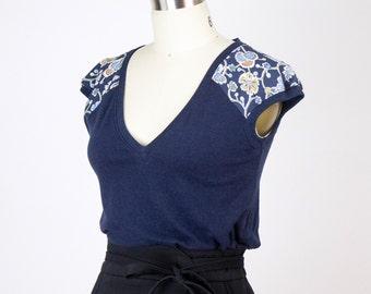 Navy Milk tee / Marine blue cute bamboo t-shirt - vintage floral raglan sleeve detail