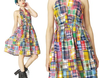 25% OFF SALE Patchwork Plaid Halter Mini Dress Plaid Full Skirt Cotton Sun Dress Elastic Waist Backless Dress Summer Festival (XS/S) E2075