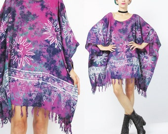 Tie Dye Kaftan Dress Hippie Boho Mini Dress Purple Beach Caftan Top SUNS Draped Dress Slouchy Wide Muu Muu Summer Boho Ethnic Fringe (L/XL)