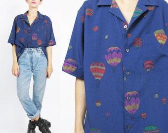 80s Novelty Print Blouse Hot Air Balloon Shirt Dark Navy Blue Womens Blouse Collared Button UP Short Sleeve Shirt Flight Air Festival (L)