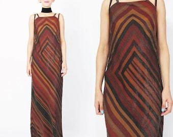 90s Geometric Striped Dress Minimalist Modern Maxi Dress Double Shoulder Straps Bandage Fall Autumn Colors Bias Cut Dress Floor Length (S)