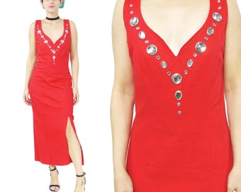 50% OFF SALE 1980s Studded Bedazzled Dress Red Body Con Dress 80s Party Dress Evening Lipstick Red Maxi Dress Fitted Jewelled (M) E630