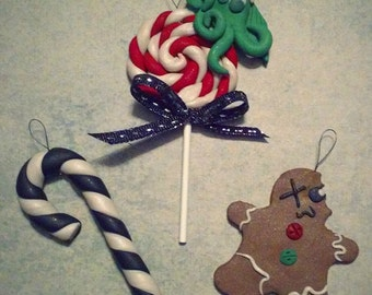 Gothic Christmas Tree Ornaments - Gingerdead Man, Cthulhu, Black Candy Cane