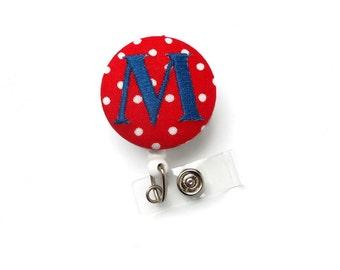 Monogrammed Initial Red Polka Dot - ID - Badge Reel - Name Badge Holder - Gift for Her - Nursing Badge - Nurse Badge Holder - Embroidered ID