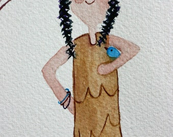 Indian girl with birds, original watercolor, children's art, bird lover, blue birds, braids, brown, tan, simple, whimsical