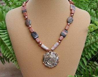 Rose Pendant, Beaded Necklace, Rose Earth Tones, Original Necklace, Rose Necklace, Stone Rose Pendant, Natures Jewelry, Coral Rose Pendant