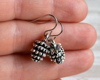 Silver pine cone earrings Autumn earrings Bohemian Boho style jewellery Fall earrings Woodland jewelry Gift for her