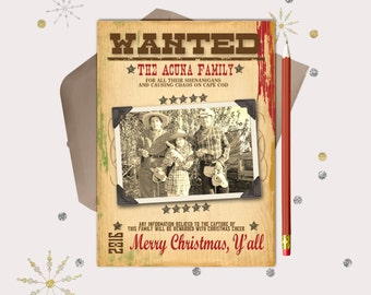 Western Christmas Photo Card · Wanted Poster · Printable Files