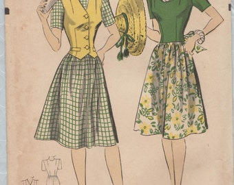 Hollywood 896 / Vintage 1940s Sewing Pattern / Dress And Waistcoat Vest / Size 14 Bust 32